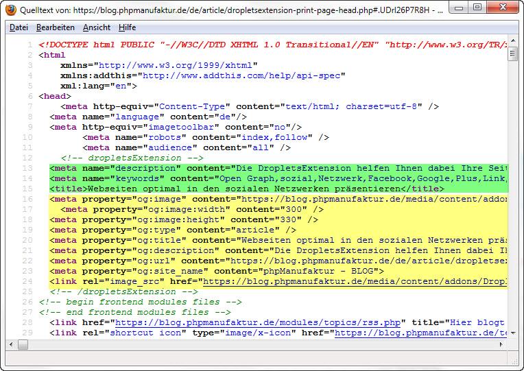 Durch print_page_head(true) erzeugter Quelltext