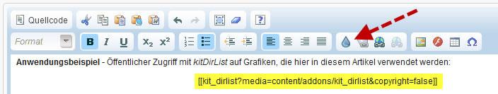 kitDirList - Droplet einfügen
