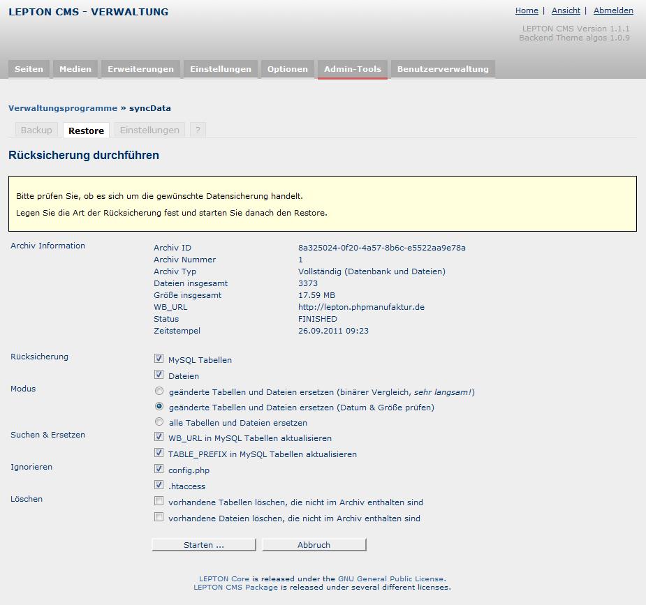 syncData - eine Datenwiederherstellung (Restore) konfigurieren