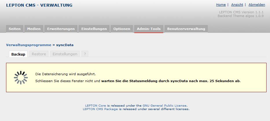syncData - Anzeige während eine Datensicherung durchgeführt wird